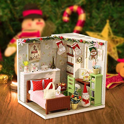 DIY Puppenhaus Handmade Assembled Mini Hut Holz Miniatur Handmade Dolls House Spaß Assembled Toy Cabin Geschenk Schlafzimmermöbel Puppenhaus Für Kinder Geburtstagsgeschenk