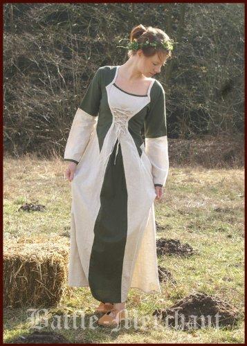 La edad media vestido de Elena de algodón/lino, verde/Beige - vestido medieval