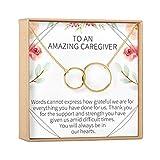 Caregiver Thank You Gift Necklace: Caretaker, Nurse, Attendant, Appreciation, 2 Interlocking Circles (gold-plated-brass, NA)