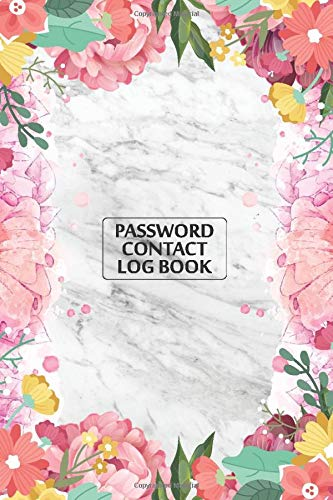 Password Keeper And Contact Book (Grey Marble & Gold Pink Floral Cover): Discreet Password Organizer With Alphabetical Tabs - Best Login Tracker Notebook to Keep Usernames & Web Addresses