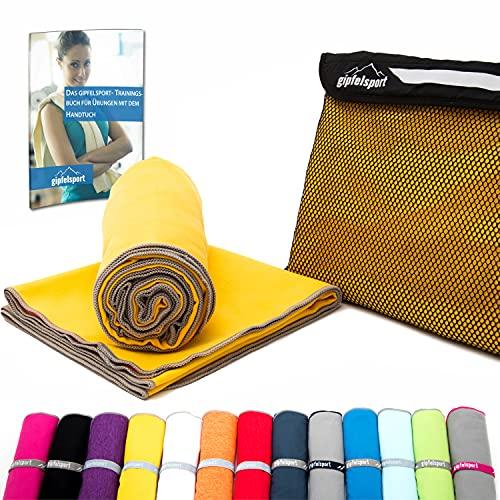 Mikrofaser Handtuch Set - Microfaser Handtücher für Sauna, Fitness, Sport I Strandtuch, Sporthandtuch I Gelb   1x L(140x70cm)