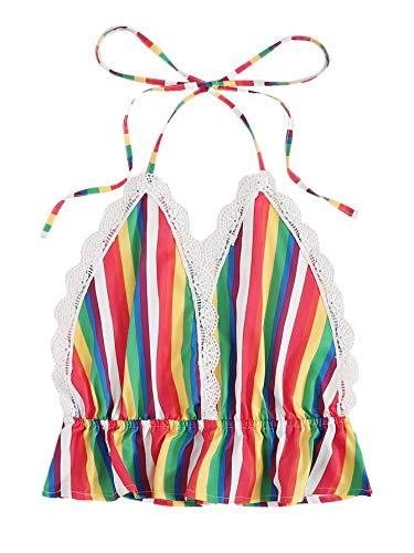 SweatyRocks Women's Deep V Neck Halter Crop Cami Top Sleeveless Vest Rainbow S