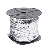 PH PandaHall 200 Yards 6mm Flat Sequin Strip Silver Spangle Sequins Paillette Trim Spool String Sequin Beads for Jewelry Making and Costume Accessories