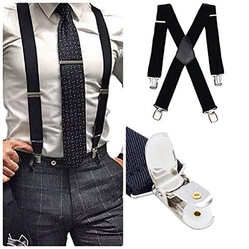 Mens Suspender Braces Unisex Tuxedo Suspenders X-Back Trouser Style Trend, Black, 1200mm Long x 35mm Wide