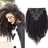 40cm - Extensiones de Clip Pelo Natural Rizado Negro 115g Kinky Curly Clip in Hair Extensions 8 Piezas 18 Clips Cabello Natural Afro Trenza