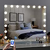Fenair Bluetooth Makeup Mirror with Lights 31.5x23.6 Inch 18 LED Bulbs 3 Color Lighting Modes Stepless Dimming Large Vanity Mirror with USB Charging Port