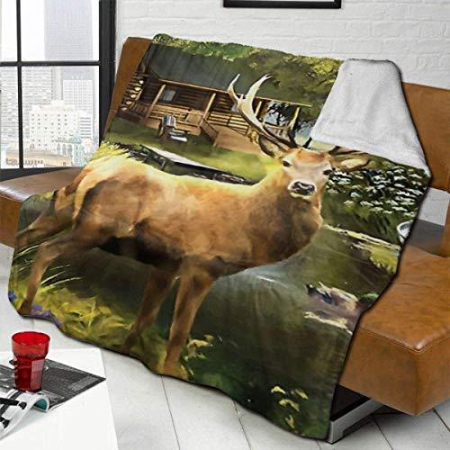 ZHENGYUAN Wildlife Elk - Manta de peluche de terciopelo grueso para hombre, suave colchoneta para dormir, manta de franela para el invierno, 80 × 60 cm