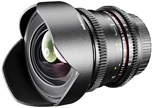 Walimex Pro Objetivo para cámara réflex con Parasol (14 mm 1:3,1) para Montura Canon EF-S