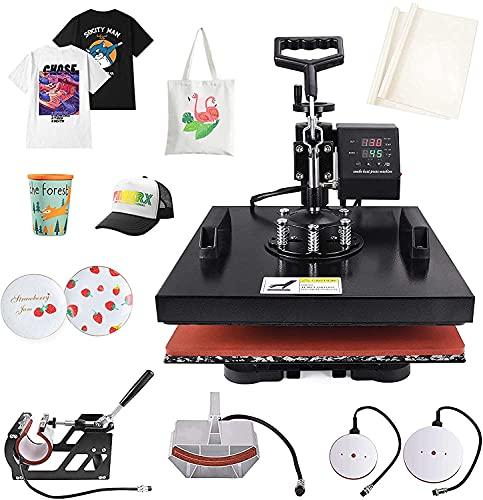 "Seeutek Heat Press 15"" x 15"" 5 in 1 Shirt Press Machine 360 Degree Swing Away Digital Multifunction Heat Transfer Sublimation Machine Combo for T Shirts Mugs Hat Plate Cap"
