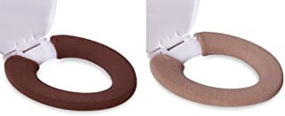 KLOUD City 2Pack Soft and Warm Thicken Toilet Seats Covers (Coffee/Light Coffee)