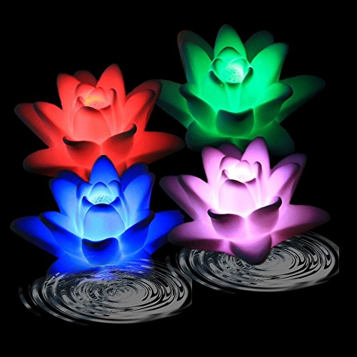 Acmee Battery-powered Color Changing LED Waterproof Floating Lily Flower Night Light Flameless Candle (Pack of 4)