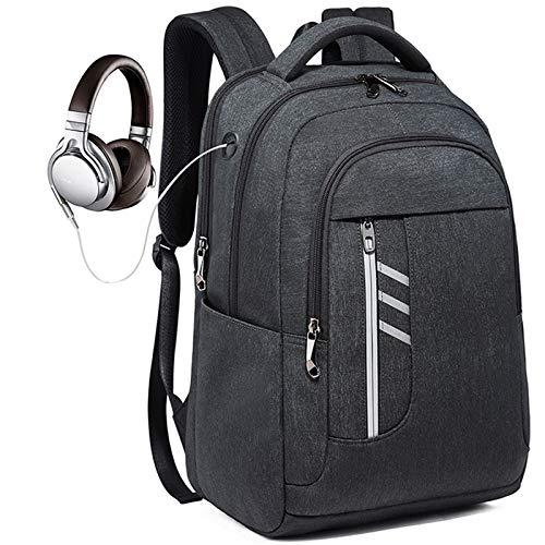 Kaijia Grandes mochilas impermeables para hombre y portátil, mochila de negocios de 17 pulgadas con carga USB, bolsa escolar para hombres y mujeres, trabajo, viajes y senderismo