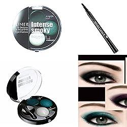 Ofertas Tienda de maquillaje: Kit de Bourjois absorbente Smoky pavo real elegant sombra a paupières + Bourjois Mega Liner fieltro 01Black (2productos). Kit de 2productos esencial de miradas glamour.