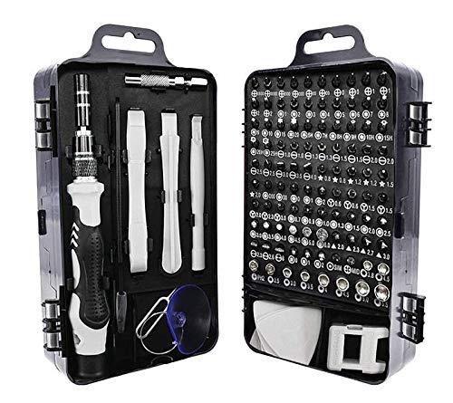 NIAGUOJI - Juego de destornilladores de precisión 115 en 1, kit de herramientas de reparación para iPhone, ordenador portátil, PC, MacBook Xbox, relojes, gafas y otros dispositivos electrónicos