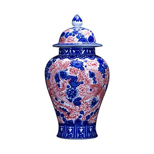 Einfache und Kreative Keramik Keramikvase Antike Imitation Qianlong Vase Blaue und Weiße Glasur Rotes Tempelglas Chinesische Wohnzimmerdekoration Vase, lsxysp, 2a