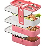Leak-Proof Stacking Bento Lunch Box (Pink) - 3 Layers, 1- and 2-Layer Locks in The Set, Leakproof, Cutlery Included