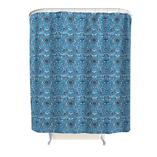 Xuanwuyi Flower Line Art - Cortina de ducha colorida para baño de 2019, diseño de tendencia artístico con ganchos, efecto dibujo a mano, cortina de ducha de tela para baño blanco de 149 x 183 cm