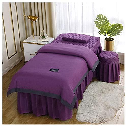 ASDF Microfibra Belleza Engrosamiento de la Mesa de Masaje Falda de la Cama Cubierta de la Cama de Color Sólido, Cómoda, Transpirable y Lavable a Máquina, Púrpura-180 * 60 (Cuadrada)