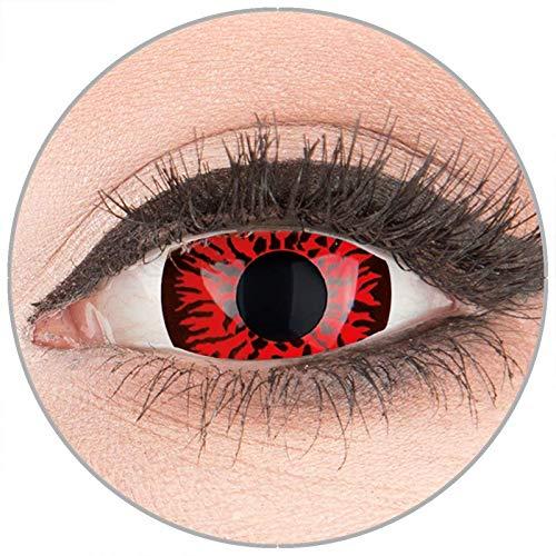 Farbige Kontaktlinsen zu Fasching Karneval Halloween in Topqualität von 'Glamlens' ohne Stärke 1 Paar Crazy Fun Mini Scleara rote 'Red Demon' 17 mm