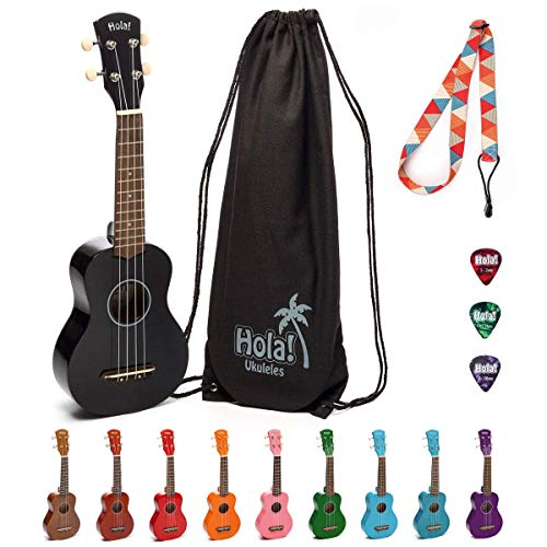Hola! Music HM-21BK Soprano Ukulele Bundle with Canvas Tote Bag, Strap and Picks, Black