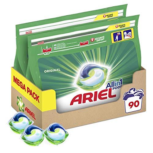 Ariel Pods Allin1 Detergente Lavadora Cápsulas, 90 Lavados (2 x 45) , Original