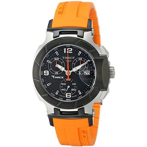 Tissot vrouwen 36mm oranje rubberen band stalen behuizing Zwitserse kwarts zwarte wijzerplaat chronograaf horloge T0482172705700