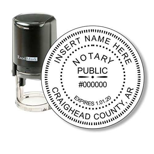 ExcelMark A-43 Self-Inking Round Rubber Notary Stamp - State of Arkansas