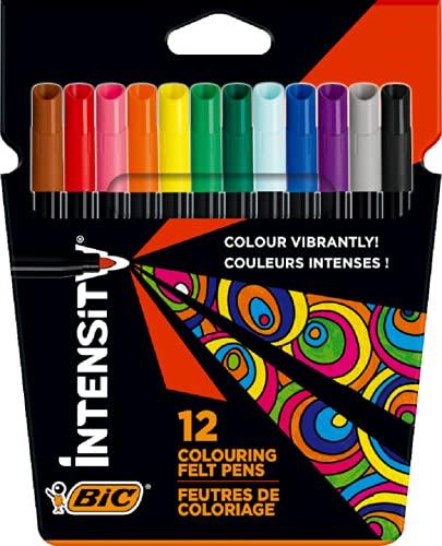 BIC Intensity Rotuladores para Colorear con Tinta Lavable con Base de Agua y Cuerpo Negro - Varios Colores, Pack de12