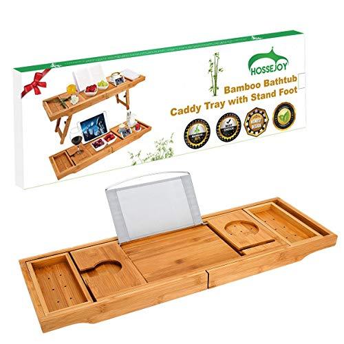 Luxuriöses Bambus-Badewannentablett mit Ständer und ausziehbaren Seiten, integriertes Buch-Tablet, Weinglas-Halterung, Telefonablage und Zubehör