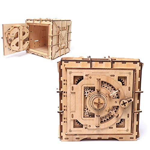 OHHCO Caja de Modelo 3D montada a Mano, Caja de Almacenamiento de Joyas de Madera Maciza, Caja Fuerte Hecha a Mano para Anillos, Pendientes, Accesorios, Gemas, antigüedades, Regalos Unisex