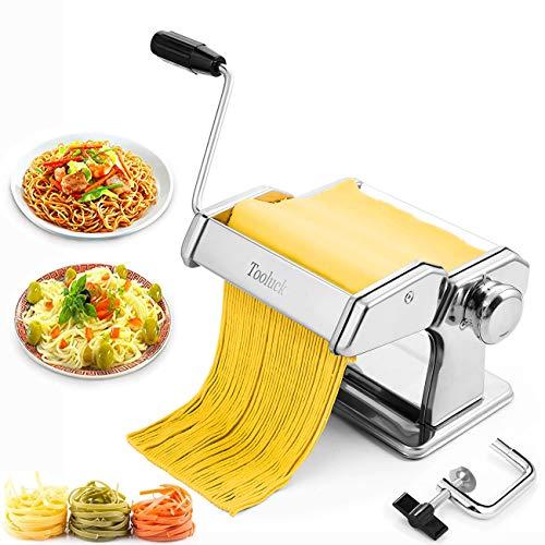 Nudelmaschine, Tooluck Nudelmaschine Manuelle Maschine Mit 2 In 1 Teigschneider Und 7 Einstellbare Dicke Einstellung FüR Hausgemachte Pasta, Spaghetti, Fettuccini, Beste KüChe Geschenk-Set.
