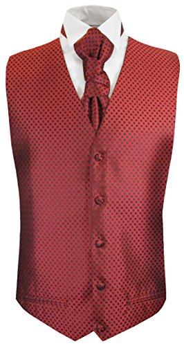 Paul Malone Hochzeitsweste + Plastron rot schwarz gepunktet - Herren Hochzeit Weste Gr. 60 3XL