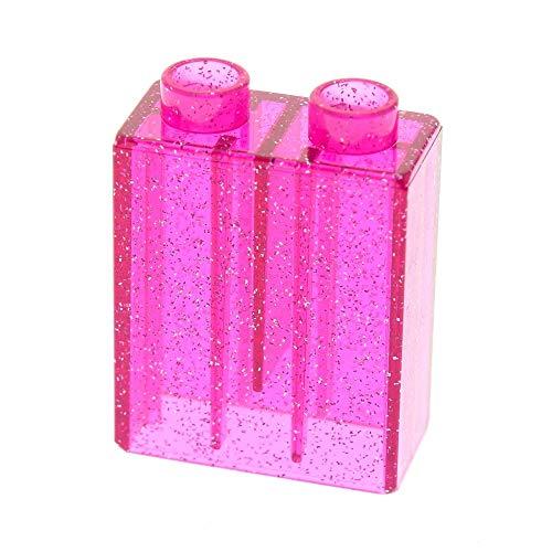 LEGO 1 x Duplo BAU Glas Stein Glitzer transparent dunkel pink rosa 1x2x2 Glassteine für Set Prinzessin Schloss 4966 4820 4828 4260810 4066 42657