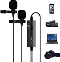 Dual Lavalier Microphones, MAONO AU200 Hands Free Clip-on Lapel Mic with Omnidirectional Condenser for Camera,DSLR, Android, Smartphone, Tablet, Pad, PC, Laptop, Computer (236in/20ft)