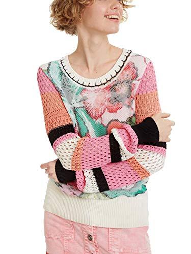 Desigual Suéter floral Burdeos para mujer