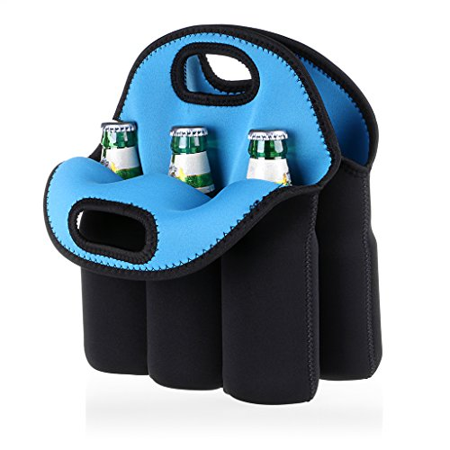 Hipiwe 6 Pack Bottle Can Carrier Tote Insulated Neoprene Baby Bottle Cooler Bag Water Beer Bottle Holder for Travel with Secure Carry Handle