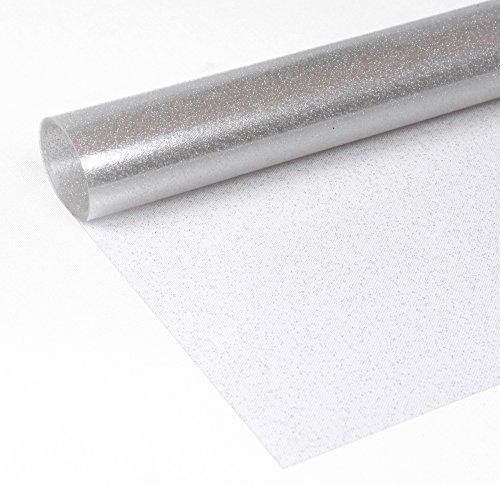 Glitter Folie Silber, Transparente Glitzer TISCHDECKE, Meterware, 100x140 cm, Länge wählbar, Beautex