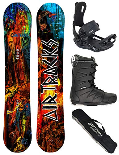 Airtracks Set/Board No Fears Carbon Wide Hybrid Rocker 152 + Snowboard Bindung Master + Boots Master QL 42 + Sb Bag