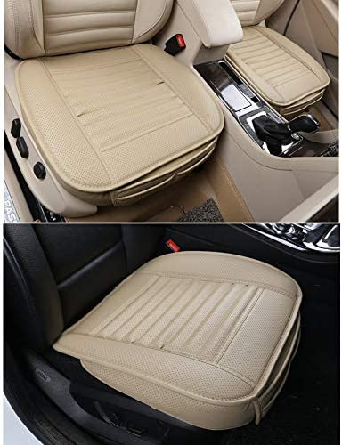 Car Seat Cover, EverFablous 1 PCS PU Leather Bamboo Charcoal Breathable Comfortable Car Seat Cushion Pad Mat Full Cover the Seat Edge for Auto Front Seat, Single Seat Without Backrest(Black)