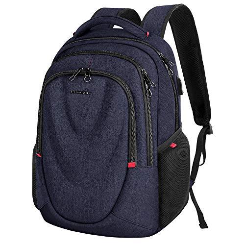 KROSER Travel Laptop Backpack 15.6 Inch Molded Front Panel Large Computer Daypack Water-Repellent with RFID Pockets USB Charging Port for Work/Business/College/Men/Women-Dark Blue