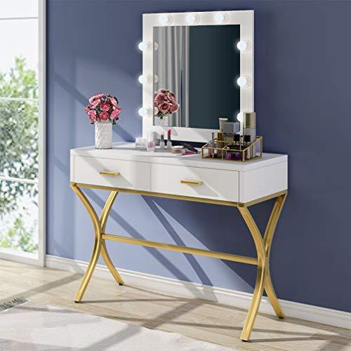 Tribesigns Vanity Table with Lighted Mirror, Makeup Vanity Dressing Table with 9 Lights and 2 Drawers for Women Girls, Make-up Vanity Dresser Desk for Bedroom, Gold Frame (White)