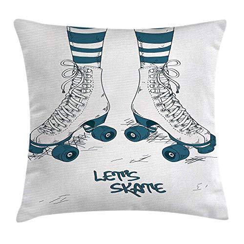 Koore Vintage Kissenbezug für Mädchen mit Streifen Strümpfen und Retro-Rollschuhen, Kunstdruck, dekorativer quadratischer Akzent, 45,7 x 45,7 cm, Blaugrün/Weiß