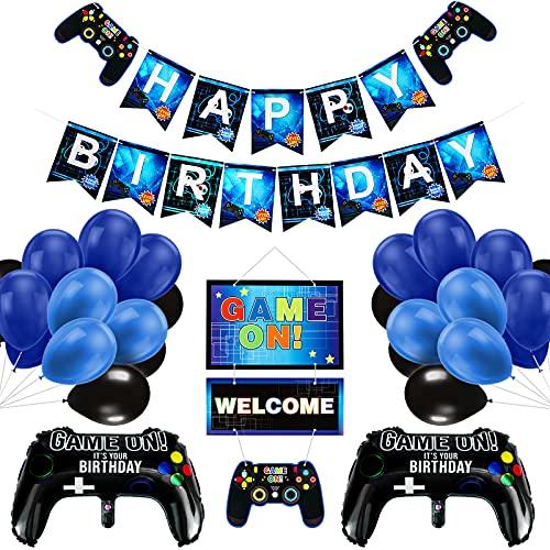 Vubkkty Geburtstag Deko für Junge, 50Pcs Videospiel Party Banner Supplies Set, Gaming Party Dekoration Happy Birthday Game ON Welcome Hängendes Videospiel Thema für Kinder