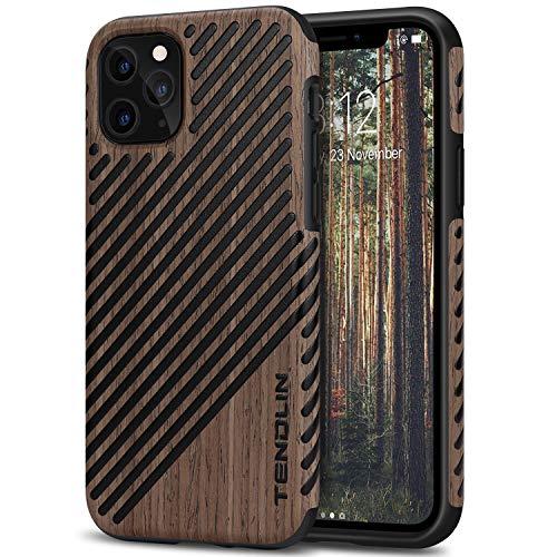 TENDLIN Cover iPhone 11 PRO Legno e Pelle Custodia Compatibile con iPhone 11 PRO (Palissandro Nero)