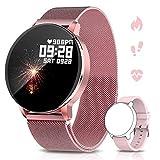 NAIXUES Smartwatch, Montre Connectée IP67 pour Femmes, Montre de Sport avec Moniteur de Fréquence Cardiaque, Chronomètre, Tension Artérielle, Rejet d'appel, Smartwatch Compatible avec iOS Android