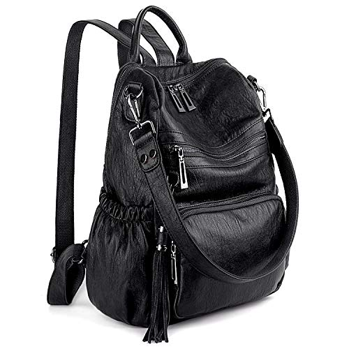 HIGH QUALITY - Soft synthetic leather with heavy duty zipper hardware. Detailed Double streamlined stitching. Full-lined coffee color fabric lining. 1 top handle, 1 shoulder strap and 2 adjustable back straps. WELL DESIGN - Double Zipper Design is co...