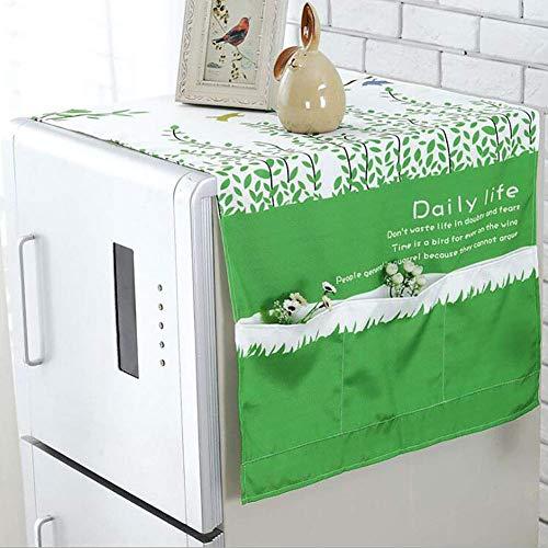 zdw Kühlschrank staubschutz tuch waschmaschine aufbewahrungstasche kühlschrank top cover multifunktions baumwolle und leinen haushaltsstaubschutz größe 55 * 140 cm, farbige blätter,Weide