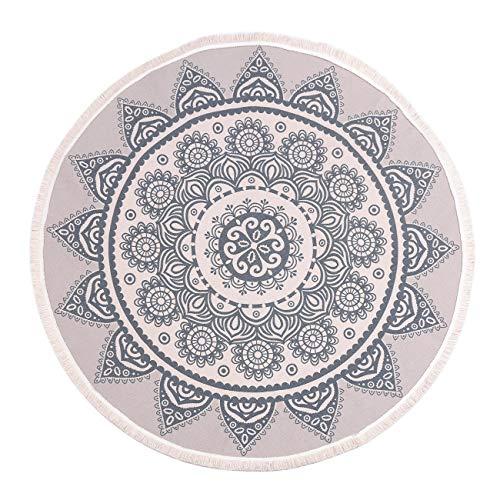 SHACOS Rund Teppich mit Quasten 120cm Teppich Baumwolle Waschbar Teppich Mandala Rund Grau Teppiche Wohnzimmer für Schlafzimmer, Büro, Hotel usw.