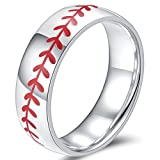 Jude Jewelers 8mm Anillo de Acero Inoxidable Deportes Béisbol Logotipo con Estilo Simple Plain Wedding Band