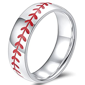 Jude Jewelers 8MM Stainless Steel Sports Baseball Ring Domed Style Simple Plain Wedding Band  Silver-Red 8